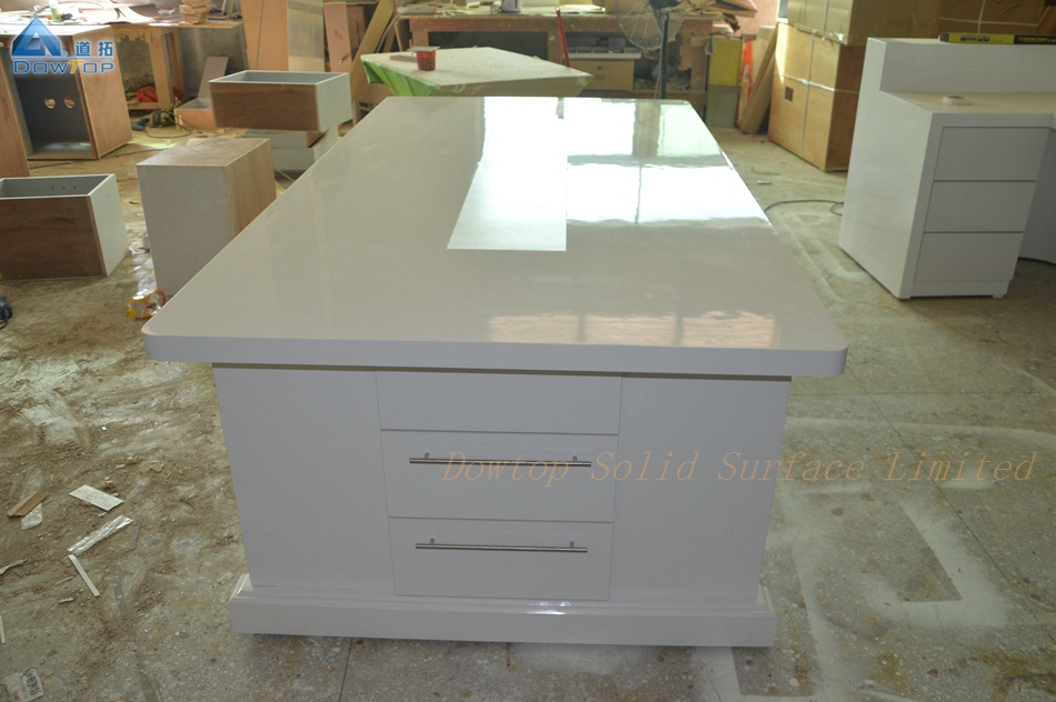 White solid surface conference table with drawer